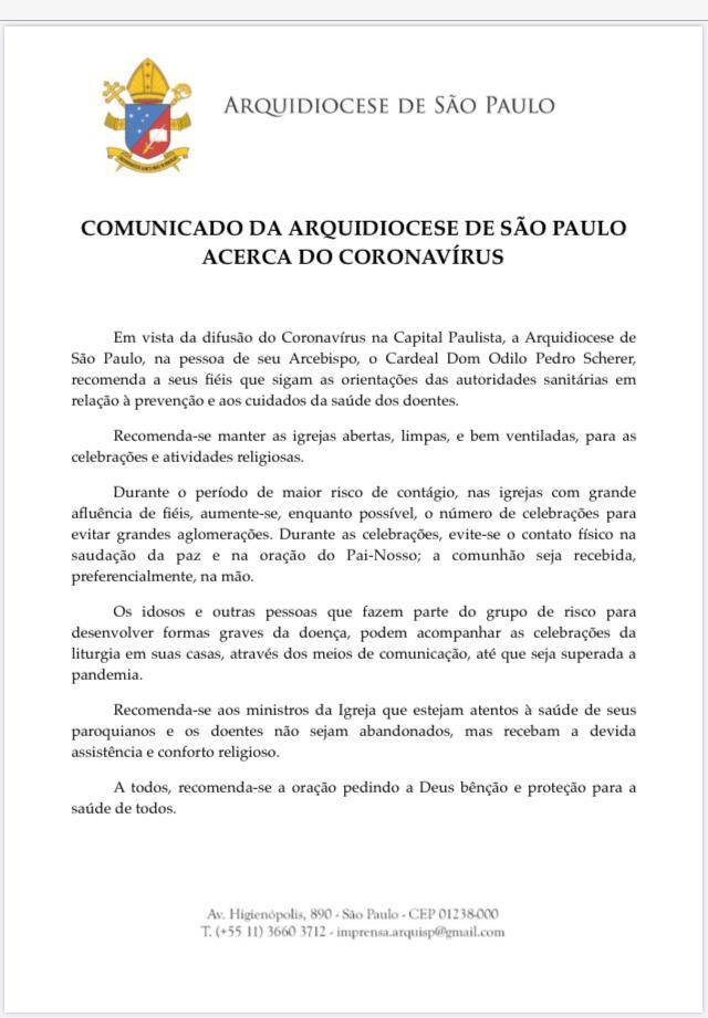 Carta de Dom Odilo Scherer acerca do Coronavirus